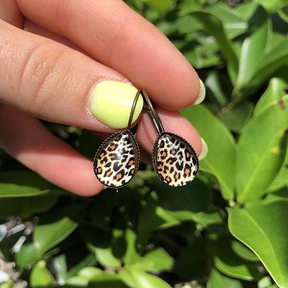 Leopard Dangly Earrings