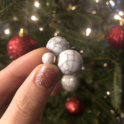 Double Marble Pearl Earrings