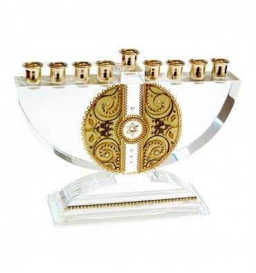 חנוכיית קריסטל מעוטרת זהב
