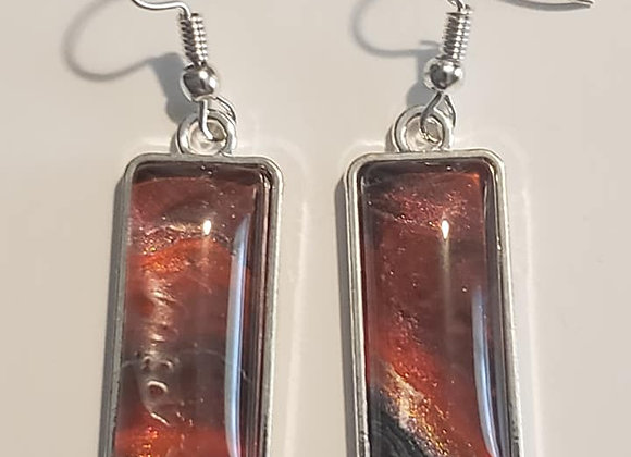 Red/Black/Gold Rectangle Earrings