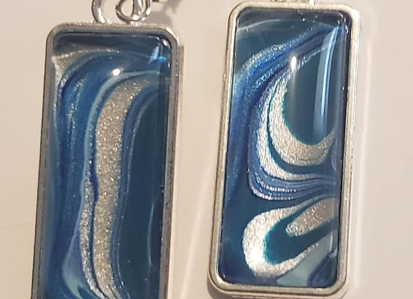 Blue/Silver Rectangle Earrings