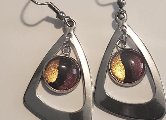 Garnet and Gold Triangle Earrings