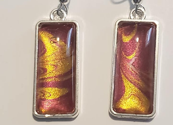 Garnet and Gold Rectangle Earrings