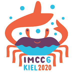 "The drawing shows a stylized crab with orange claws, legs and eyes, and a purple and blue body. The claws are raised above the head of the crab and there are blue bubbles all around them. The crab is smiling and right under it are the words ""IMCC6, Kiel 2020""."