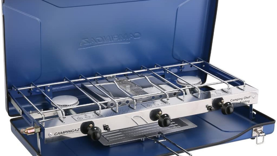 The Campingaz Chef Folding Double Burner Stove and Grill