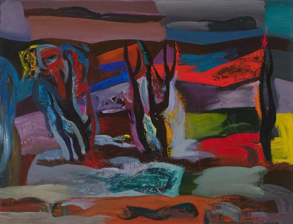Peizažas su senais medžiais, 1986