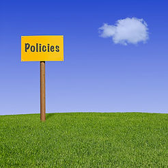"Photo of bright yellow signpost entitled ""Policies"" on grassy hillside with clear blue sky and one lone cloud."