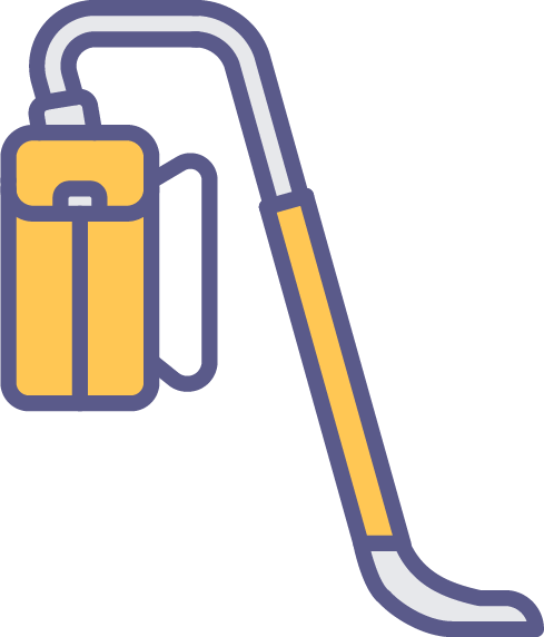 Colorful illustration of a backpack vacuum.