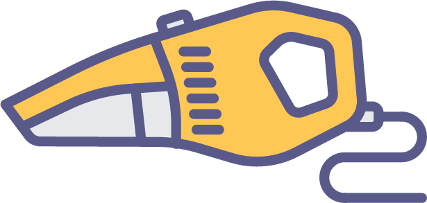 Colorful illustration of a handheld vacuum.