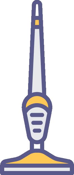 Colorful illustration of stick/broom vacuum.