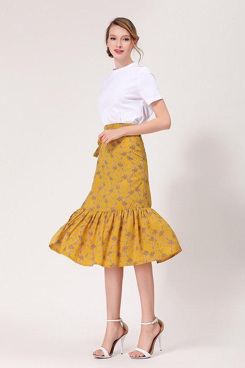 Mademoiselle Ruffle Tie Midi Skirt