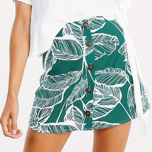 Leafy Linen Skirt