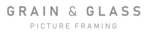 grain and glass picture framing font logo