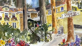 Illustration of Village Inn & Restaurant where Fabino owner is pastry chef