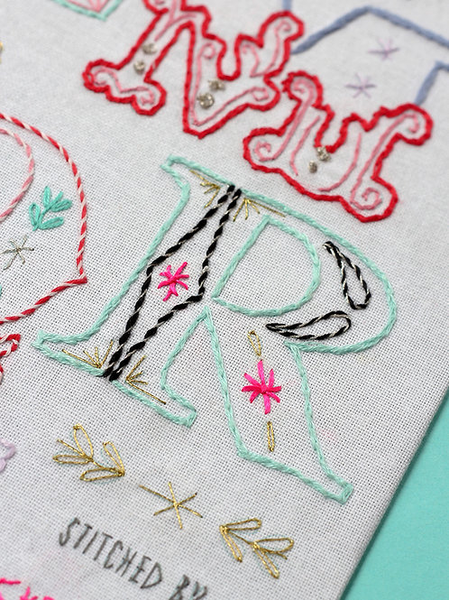 LETTER R EMBROIDERY TEMPLATE AND INSTRUCTIONS