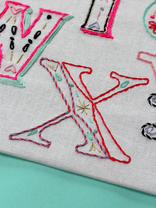 LETTER X EMBROIDERY TEMPLATE AND INSTRUCTIONS