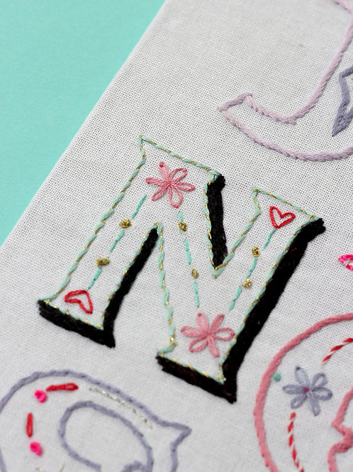 LETTER N EMBROIDERY TEMPLATE AND INSTRUCTIONS