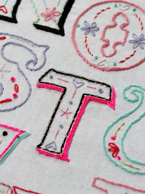 LETTER T EMBROIDERY TEMPLATE AND INSTRUCTIONS
