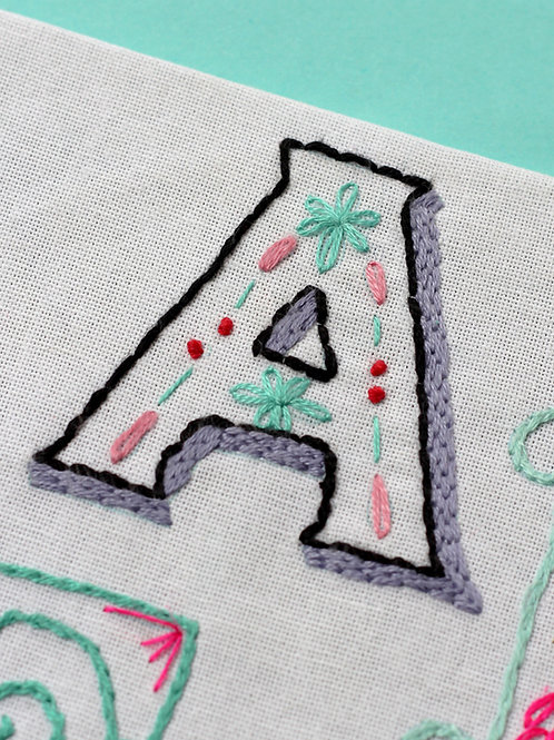 LETTER A EMBROIDERY TEMPLATE AND INSTRUCTIONS