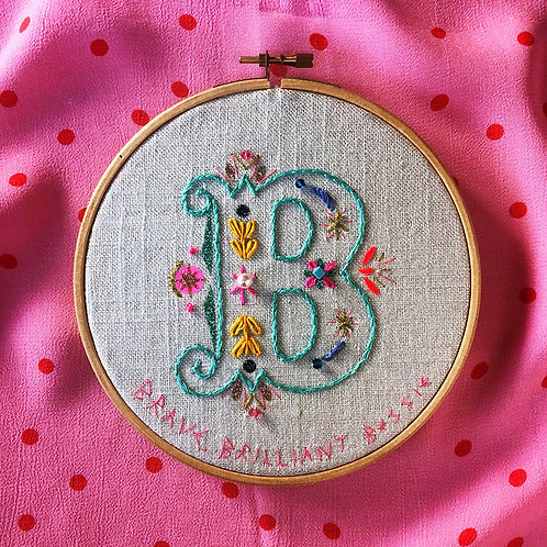 LETTER B EMBROIDERY TEMPLATE AND INSTRUCTIONS