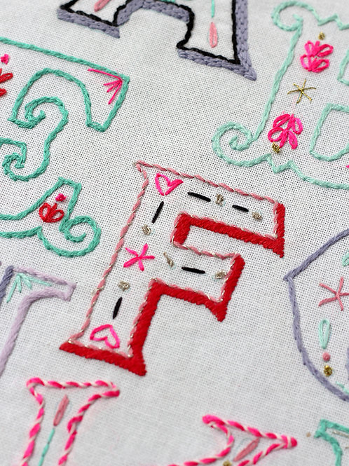 LETTER F EMBROIDERY TEMPLATE AND INSTRUCTIONS