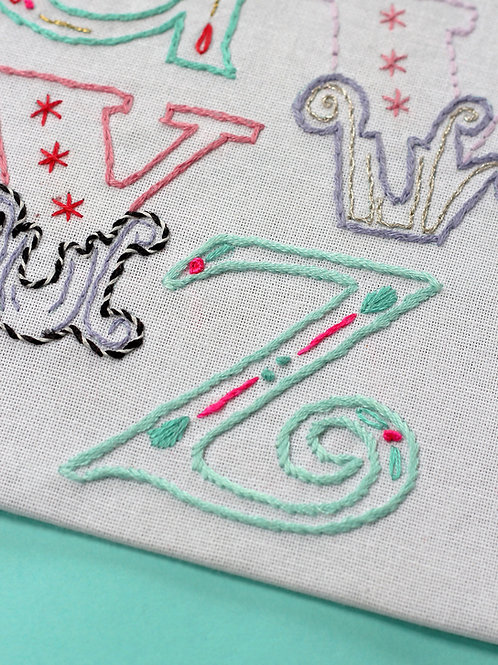 LETTER Z EMBROIDERY TEMPLATE AND INSTRUCTIONS