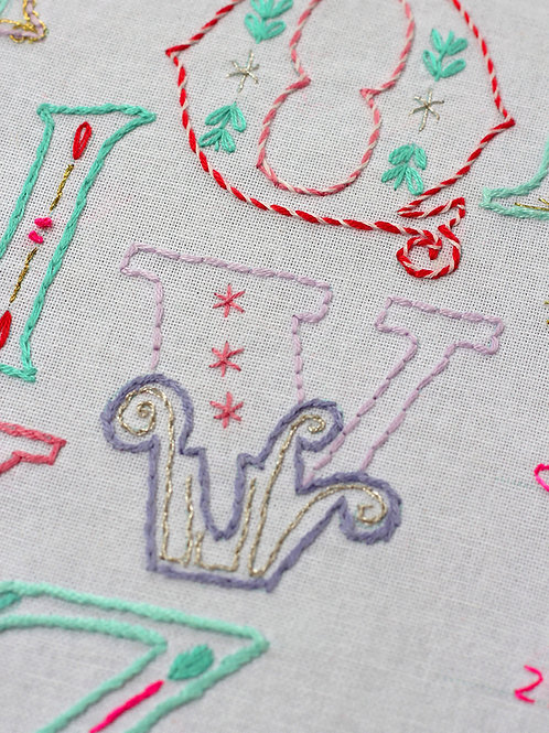 LETTER V EMBROIDERY TEMPLATE AND INSTRUCTIONS