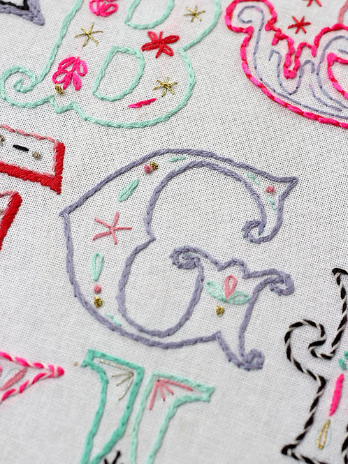 LETTER G EMBROIDERY TEMPLATE AND INSTRUCTIONS