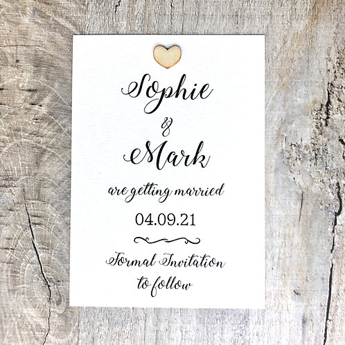 Wood Heart Save the Date