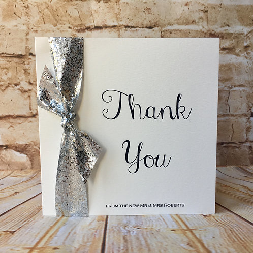 Silver glitter thank you cards