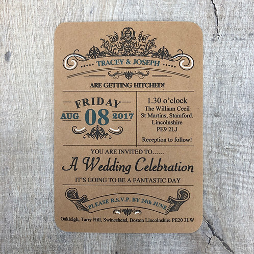 Vintage Poster Wedding Invitation