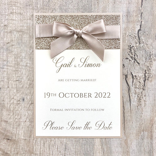 gold glitter save the date