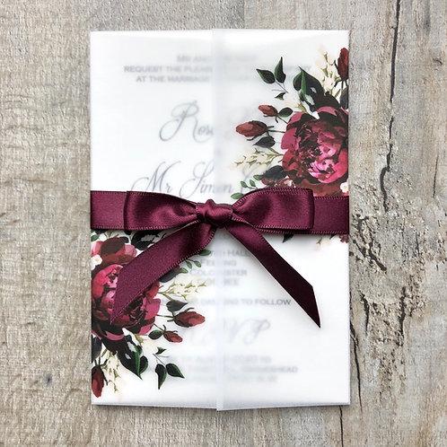 burgundy vellum wedding invites