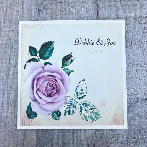 vintage rose wedding invite