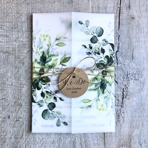 rustic vellum wedding invites