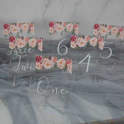 pink acrylic table numbers