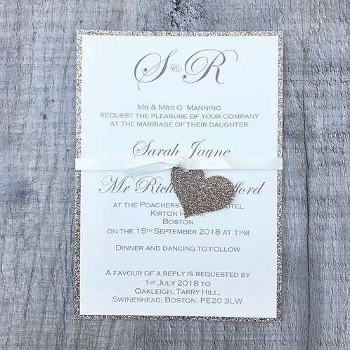 Glitter Heart Wedding Invitation