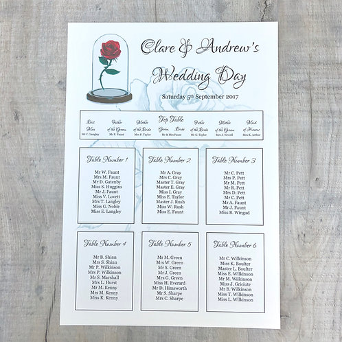 beauty & the beast wedding table plan