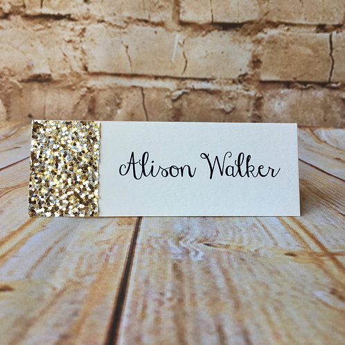 Gold Glitter Name Place Card