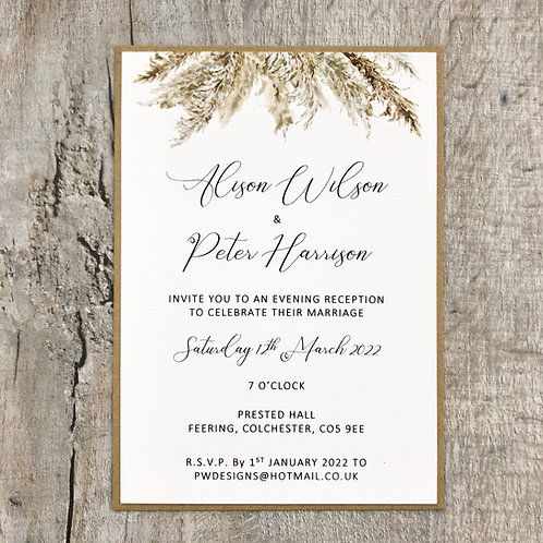 pampas grass wedding invitation