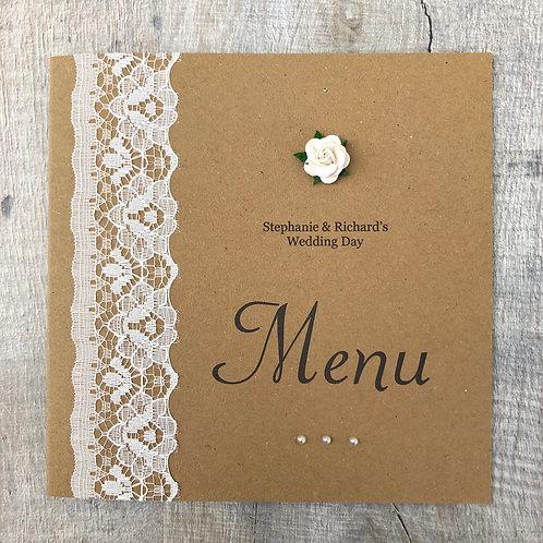 Vintage lace menu card