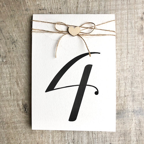 Wood heart table number