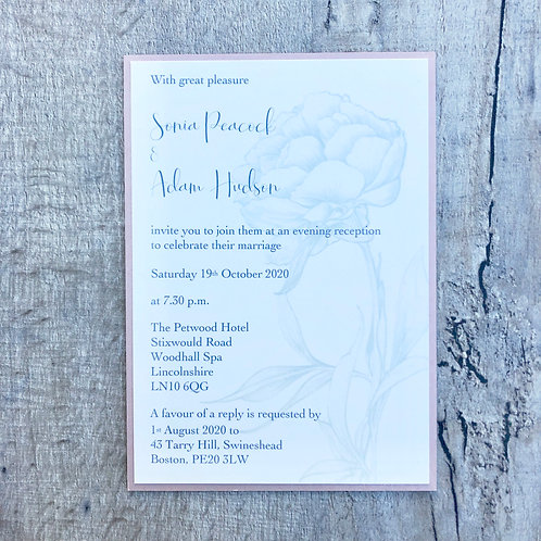 Peony (A6 Flat Wedding Invite)
