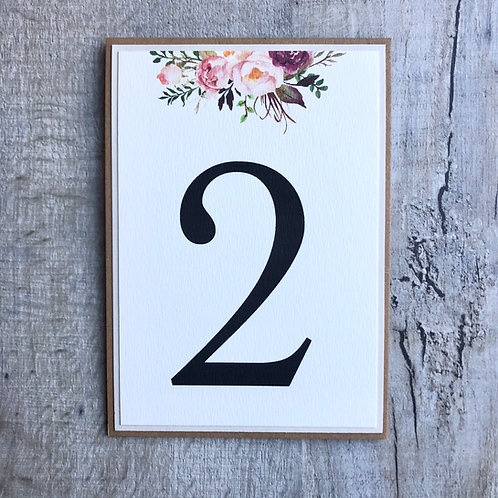 floral rustic table numbers