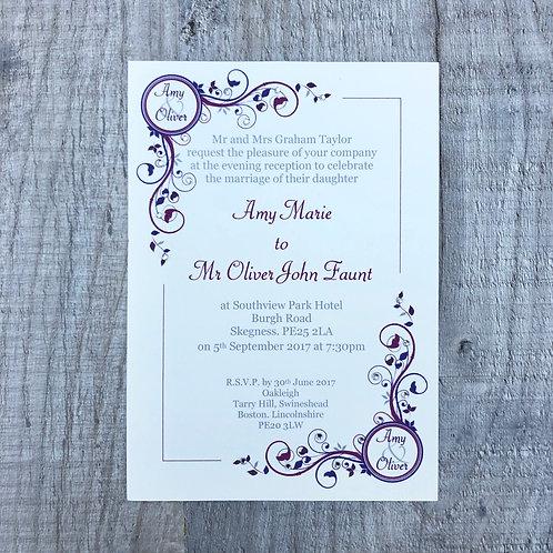 burgundy wedding invite