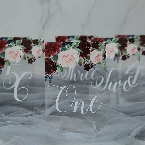 burgundy and blush table numbers