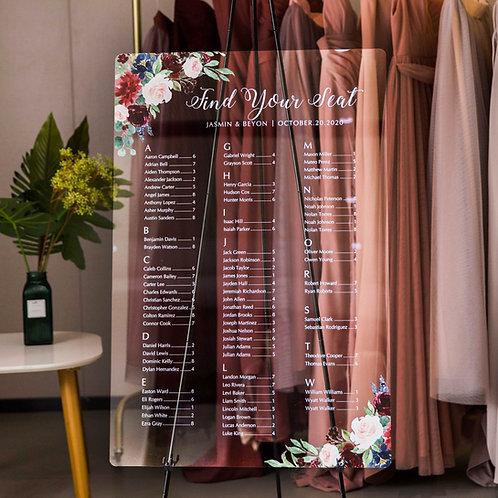 Burgundy and blush table plan