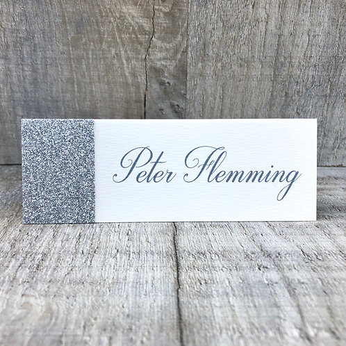 Silver glitter name place cards