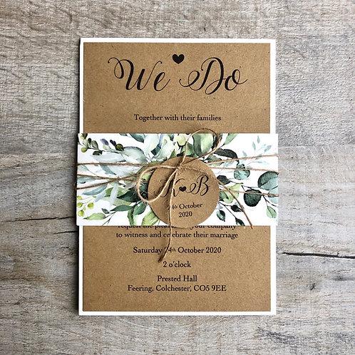 rustic leaft wedding invitation