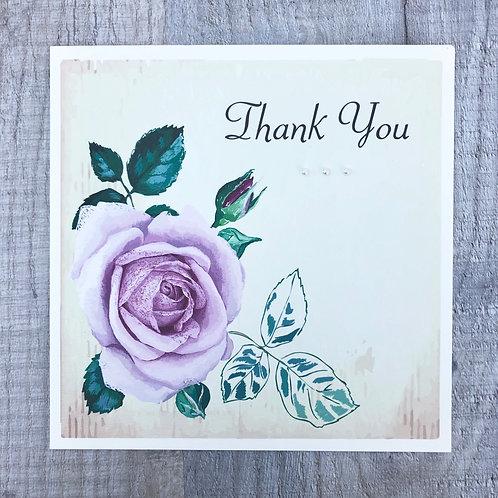 vintage rose thank you card